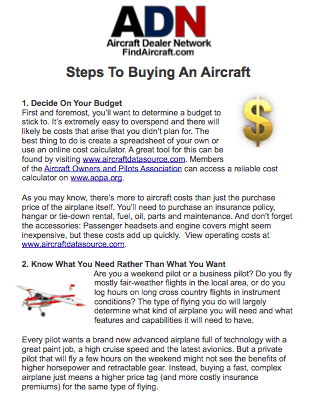 steps to buy an aircraft